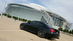 Black BMW e60 M5. Gun metal powdercoated wheels at Cowboys Stadium