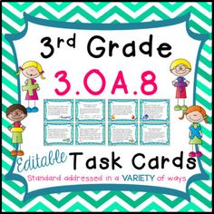 This is a set of 24 EDITABLE task cards specifically aligned to standard 3.OA.8 of the third grade math curriculum (for Common Core). This standard focuses on writing equations and solving multiple step word problems. It also focuses on determining the reasonableness of estimates for given word problems. Although this was designed for the 3rd grade, it could also be easily utilized in 2nd or 4th grade for differentiation. ...