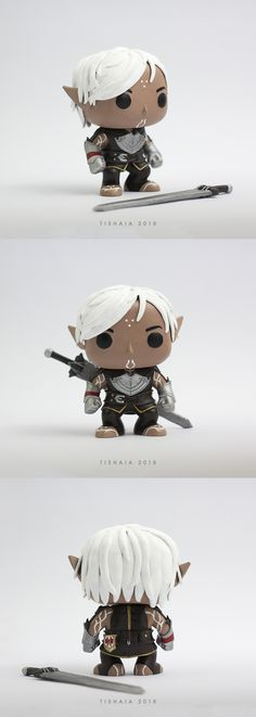Fenris Pop by tishaia One of a kind, handmade, custom Funko Pop Fenris from Dragon Age games. His outfit is made out of polymer clay and painted with acrylics. #funkopop #fenris #polymerclay #clay