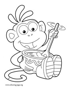 Dora - Boots making chocolate coloring page
