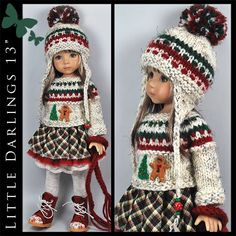 "OOAK ** WINTER ** Outfit for Little Darlings Effner 13"" by Maggie & Kate Create"