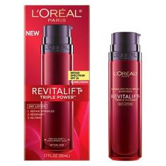 L'Oreal® Paris Revitalift Triple Power Day Lotion SPF 30 - 1.7 fl  oz. L'Oreal Paris Revitalift presents Revitalift Triple Power SPF 30 Day Lotion - a luxurious - powerful anti-aging moisturizer that goes beyond a one-dimensional approach to address three dimensions of aging:   1. Repairs Wrinkles  2. Re-Firms Contours  3. Replenishes Facial Volume. $19.99