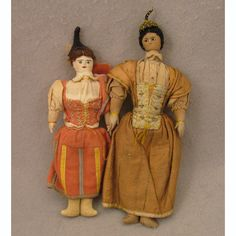 Pair of Antique Cloth Dolls in Costumes of Maderia