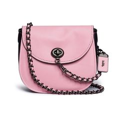 Coach 'Turnlock' glovetanned leather saddle bag (€415) ❤ liked on Polyvore featuring bags, handbags, pink, woven-leather handbags, coach purses, pink purse, coach handbags and leather handbags