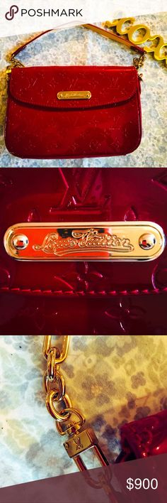 😍LOUIS VUITTON VERNIS RODEO DRIVE CLUTCH Very well taken care of, AUTHENTIC, Louis Vuitton bag. This is the most gorgeous cherry red colored oversized clutch that ever existed.  Color: Pomme D'Amour.  Material: Monogram embossed varnish calf leather. Origin: France Date: 2010 Has removable chain link strap as shown.  Product ID: M93598 NO SCUFFING. NO SCRATCHES ON HARDWARE. COMES WITH DUST BAG ETC.  Please don't hesitate to reach out if you have more questions!!!!!! Louis Vuitton Bags