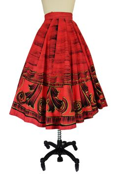 1950s Red & Gold Painted Mexican Skirt 50s Skirt, Dress Skirt, Awesome Dresses, Nice Dresses, 1950s Fashion, Vintage Fashion, Mexican Skirts, 50s Glamour, Circle Skirts