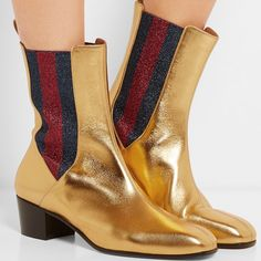 Gucci Metallic leather and textured-lamé Chelsea boots