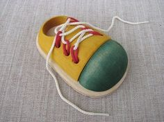 Shoes and Laces Wooden Toy by linenkids on Etsy, $18.50