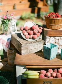 Northern California Backyard Wedding: Cocktail hour fruit stand www.joyfulweddingandevents.com