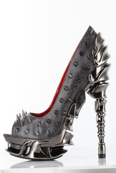 Hades Shoes - Talon - Pewter - Goth Metal Cyber Steam Spike Heel - Salient Seven