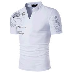 Men's+Sports+Casual/Daily+Going+out+Simple+Boho+Active+Summer+T-shirt,Print+Stand+Short+Sleeves+Cotton+Medium+–+USD+$+12.99