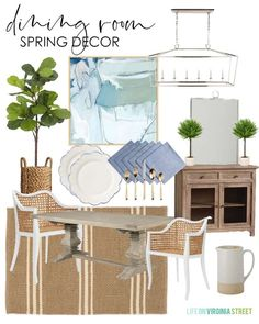 2020 Spring Decorating Ideas & Design Boards / I love all of these spring decorating ideas for our dining area with a jute rug, fiddle leaf fig tree, and abstract art.  #diningroom #springdecorating #springdecor #diningroomdecor #coastaldecor