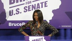 Hands on her double-wides and a smirk on her lips, MOO went to Iowa to campaign for Bruce Braley. She helped him lose the Senate race by calling him Bruce Bailey and he lost by a huge margin to Republican Joni Ernst. Guess MOO is as deadly as BOO. No wonder they couldn't find anyone who actually wanted them to campaign for them.
