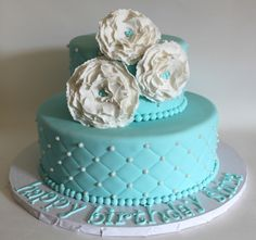 Blue White Theme Cake