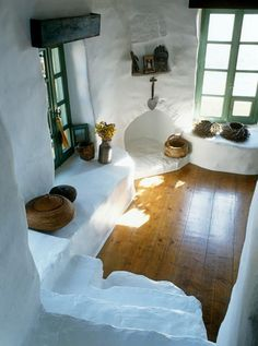 Sunlight captured inside a traditional island house.  Greece Art & Architecture