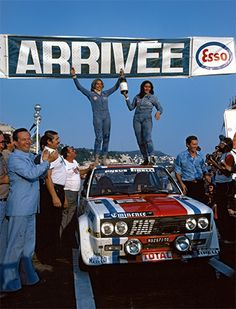Fiat 131 Abarth Rallye Michele Mouton e Francoise Conconi Autos Rally, Rally Car, Rally Drivers, Women Drivers, Sports Car Racing, Race Cars, Fiat Abarth, Audi Sport, Cars
