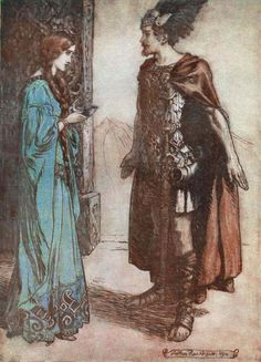 Sigfrido y Crimilda se ven por primera vez después de que él permanece un año en la tierra de Guten y despúes de luchar contra Ludegero y Ludegasto en favor de Guten...