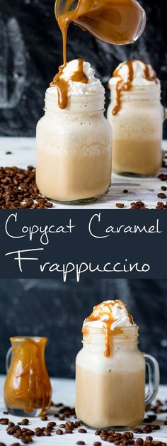 This iced coffee, sweetened with CARAMEL is a real treat – and so simple to make at home! This iced coffee, sweetened with caramel is a real treat – and so simple to make at home! Starbucks Caramel Frappuccino, Frappuccino Recipe, Starbucks Coffee, How To Make Frappuccino, Do It Yourself Essen, Yummy Drinks, Yummy Food, Iced Coffee Drinks, Coffee Cafe