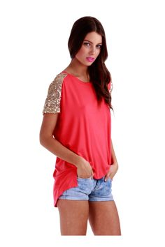 Not Your Girlfriend Top: Coral | Pretty Edgy Who says casual can't be sexy? With a silhouette that fits all sizes, these Not Your Girlfriend tops make for must-have additions to every girl's closet! Featuring beautiful sequins on the shoulders.  This top is perfect for pairing with our Vegan Leather leggings! Grab yours now in sizes small – large. Garment is 100% cotton. #shopprettyedgy #prettyedgy #madisonsquareclothing #wearandshare #sequin #nygf #coral #top