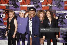 English rock band Def Leppard posed at MTV Video Music Awards in Los Angeles, USA on 9th September 1992. They are Phil Collen, Rick Savage, Joe Elliott, Rick Allen and Vivian Campbell.