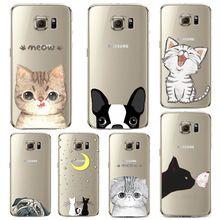 Telefon Case do Samsung Galaxy S5 S6 S6Edge S6Edge + Miękkie TPU Silicon Przezroczysta Cienka Pokrywa Sprytny Kot Pies Zwierzęta Skóry Shell(China (Mainland))