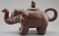 Collectible Decorated Old Handwork Purple Sands Carved Elephant Tea Pot picclick.com