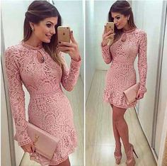 2017 Autumn Fashion Casual Womens Sexy Dresses Party Night Club Dress Fall Long Sleeve Pink Lace Dress Brasil Vestidos De Festa