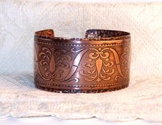 Etched and riveted copper cuff bracelet - with possible personal inscription