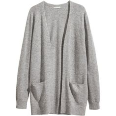 H&M Cashmere cardigan ($83) ❤ liked on Polyvore featuring tops, cardigans, outerwear, jackets, sweaters, grey marl, gray top, h&m tops, cardigan top and cashmere cardigan