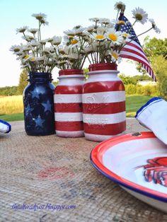 thealteredpast.blogspot.com Painted Mason Jars #masonjar #memorialday #july4