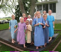 amish girls on trampoline