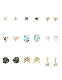 Arrow & Chevron Stud Earrings - 9 Pack #earrings