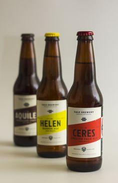 Designed by Suizopop, Cale Brewery is a craft beer company from Monterrey, México. The bottles features limited color selection with typography that compliments the design in general.