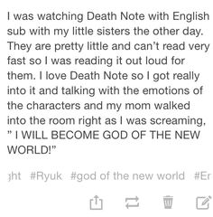 Ok that is funny..  but really watching DEATHNOTE with childern too young to read subs well??? That anime is just not meant for young impressionable minds...
