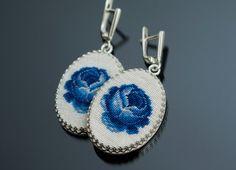 Silver earrings, blue rose: Gzhel Russian style, Folk, Shabby chic, sterling silver earrings leverback, hand embroidery petit point.