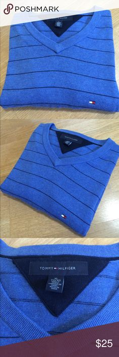 Tommy Hilfiger V neck sweater XL Beautiful Tommy Hilfiger v-neck sweater. Blue with navy blue thin stripes. Logo on left chest. Size XL Tommy Hilfiger Sweaters V-Neck