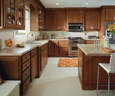Luxury Cherry Cabinets with Brushed Nickel Hardware