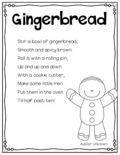 FREE Gingerbread Poem--great for sight word practice and the students love acting it out!