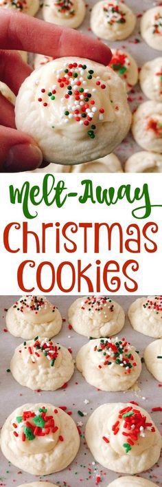 Melt-Away Cookies A sweet cookie with a tangy cream cheese icing that melts in your mouth every time you take a bite.A sweet cookie with a tangy cream cheese icing that melts in your mouth every time you take a bite. Köstliche Desserts, Holiday Desserts, Holiday Baking, Holiday Recipes, Dessert Recipes, Apple Desserts, Spanish Desserts, Irish Desserts, Mexican Desserts