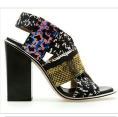 Zara Multicolor Sandals Multi color stretch thick strap slingback heels. Amazing print. Made in Spain. Worn 1x. Zara Shoes