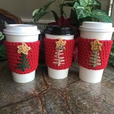 cozy crochet Your place to buy and sell all things handmade Crochet Coffee Cozy, Coffee Cup Cozy, Crochet Cozy, Crochet Gifts, Coffee Cups, Coffee Cozy Pattern, Crochet Things, Crochet Christmas Decorations, Holiday Crochet