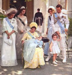 Prince Pavlos christening in Athens (1967)    Queen Frederica, Queen Sofia of Spain, Queen Anne-Marie with son Pavlos, Princess Irene of Greece, King Constantine II with daughter Alexia.