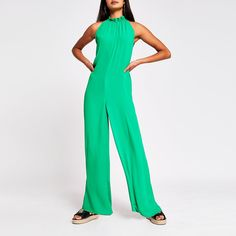 Green Tie Neck Jumpsuit | River Island Green Tie, River Island Womens, Jumpsuit, Products, Dresses, Fashion, Green Bow Tie, Overalls, Vestidos