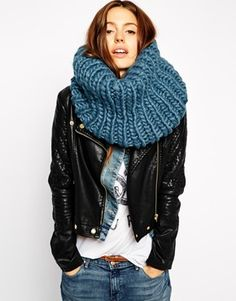 ASOS Chunky Snood In Hand Knit Funnel Detail