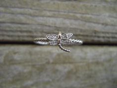 Small dragonfly ring in sterling silver by Billyrebs on Etsy, $19.00