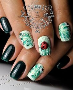 These darker shades are especially popular these autumn days, and in combination with white color and the effective ladybug whole manicure looks much more luxuriant.