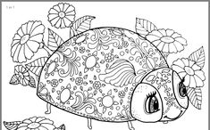 cute lady bug coloring page Bug Coloring Pages, Mandala Coloring Pages, Coloring Books, Mindfulness Colouring, Doodle Art Designs, Cute Images, Pictures To Paint, Line Drawing, Colorful Flowers