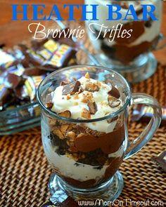 Heath Bar Brownie Trifles   MomOnTimeout.com  #candy #dessert #recipe