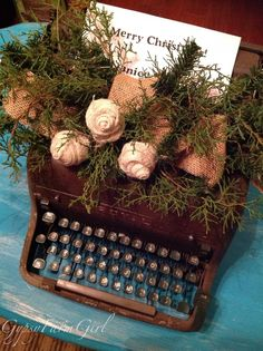 GypsyFarmGirl: vintage typewriter with burlap and Christmas greens