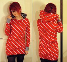 Red hoodie, fabric by Ikasyr. Sewed this in December, still wearing every week <3 love love love.  http://bylaurakoo.blogspot.fi/2013/12/kangas-kuin-karkki.html